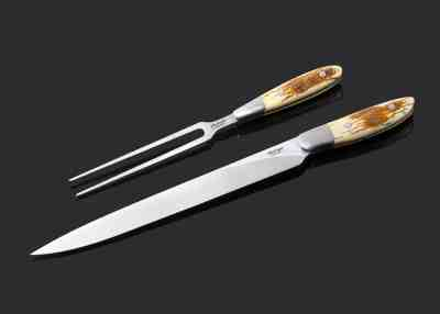 Mammoth Ivory and Stainless Steel Carving Set