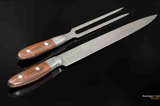 Raindrop Damascus and Premium Curly Koa Carving Set other view