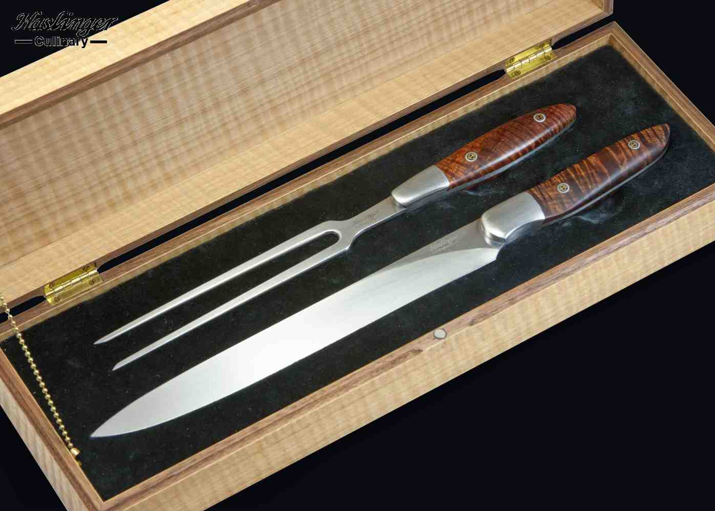 Carving Set with Curly Koa Handle in Anagree Display Box