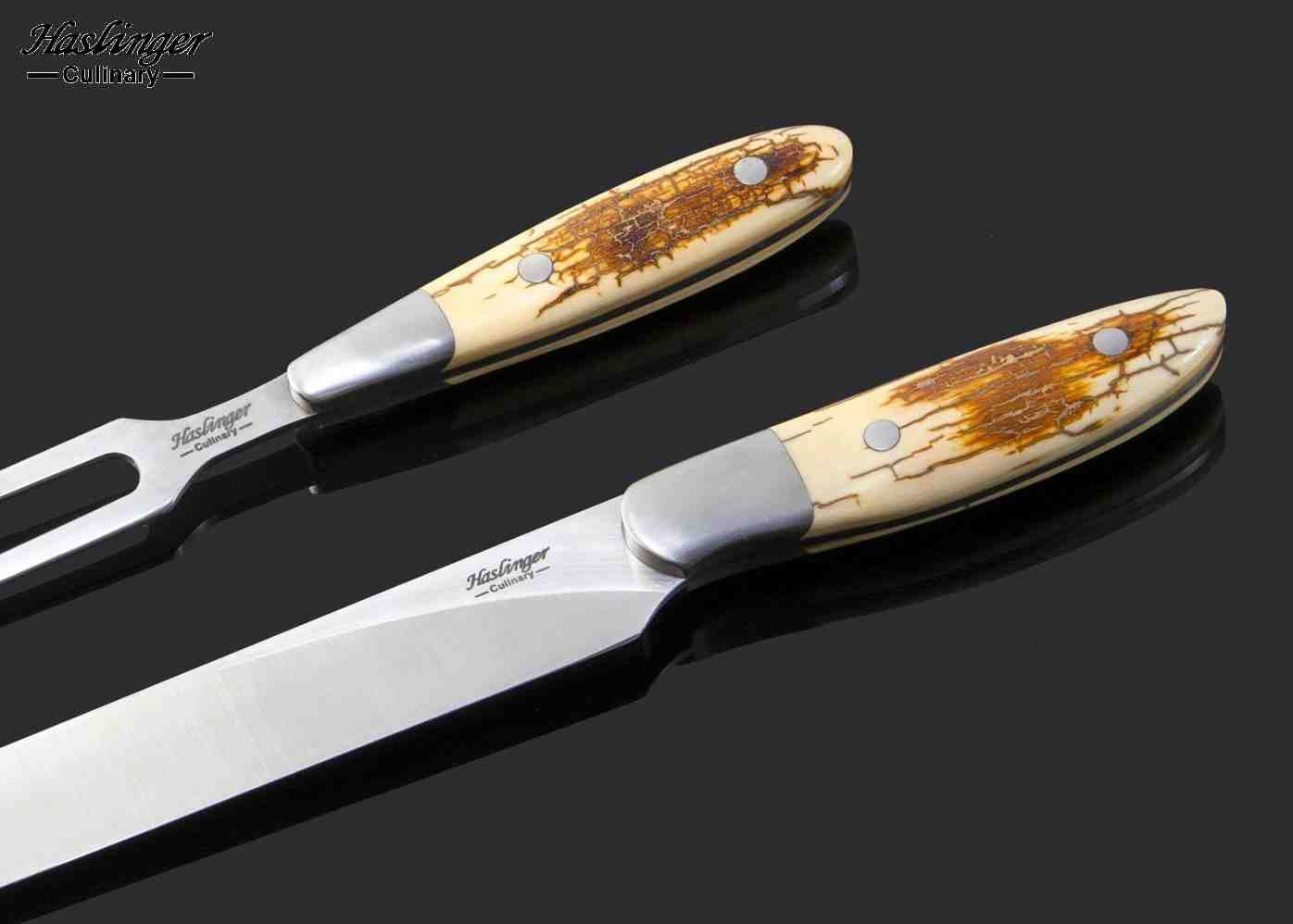 Mammoth Ivory and Stainless Steel Carving Set close up