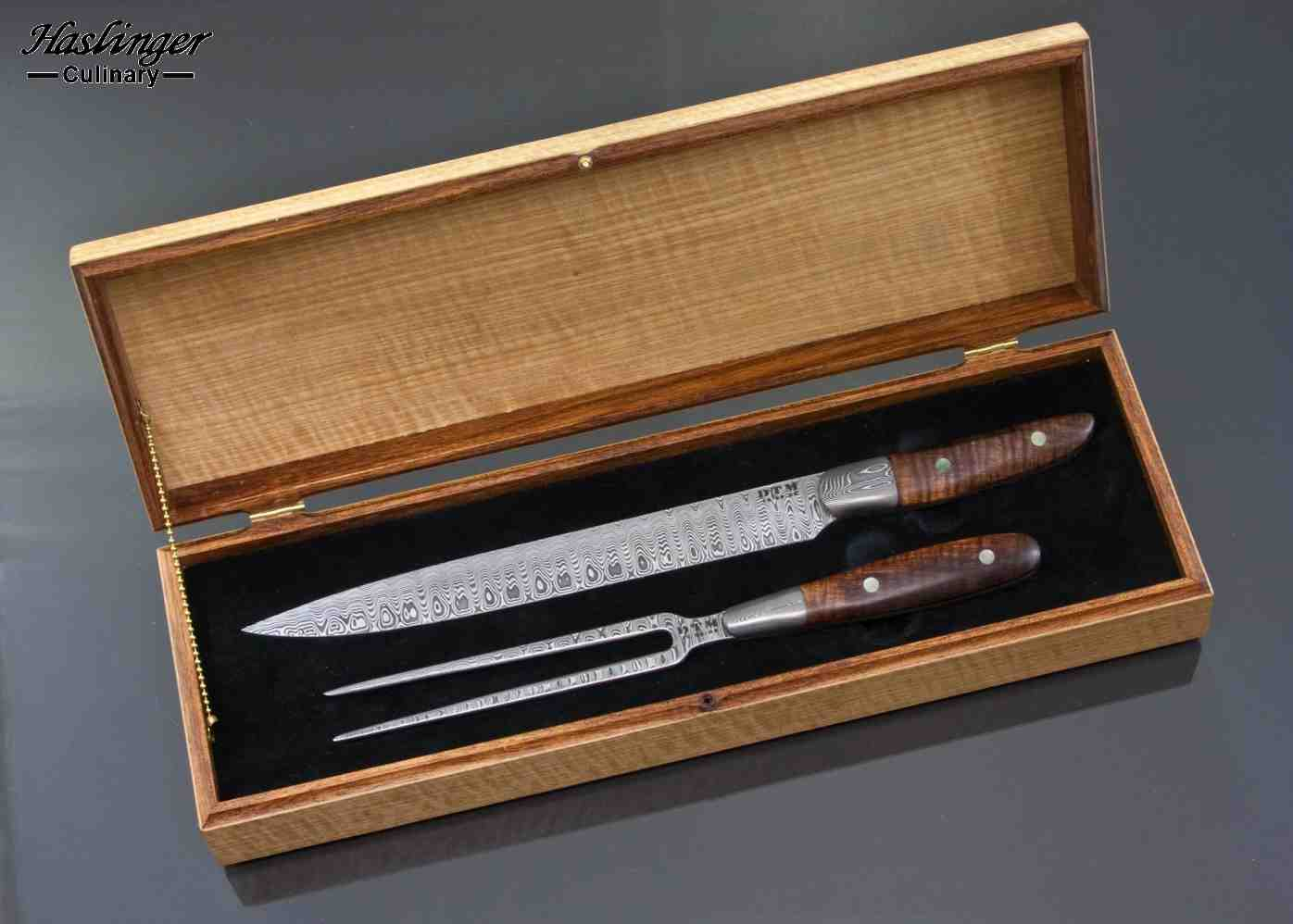Damascus carving set with figured anagree box
