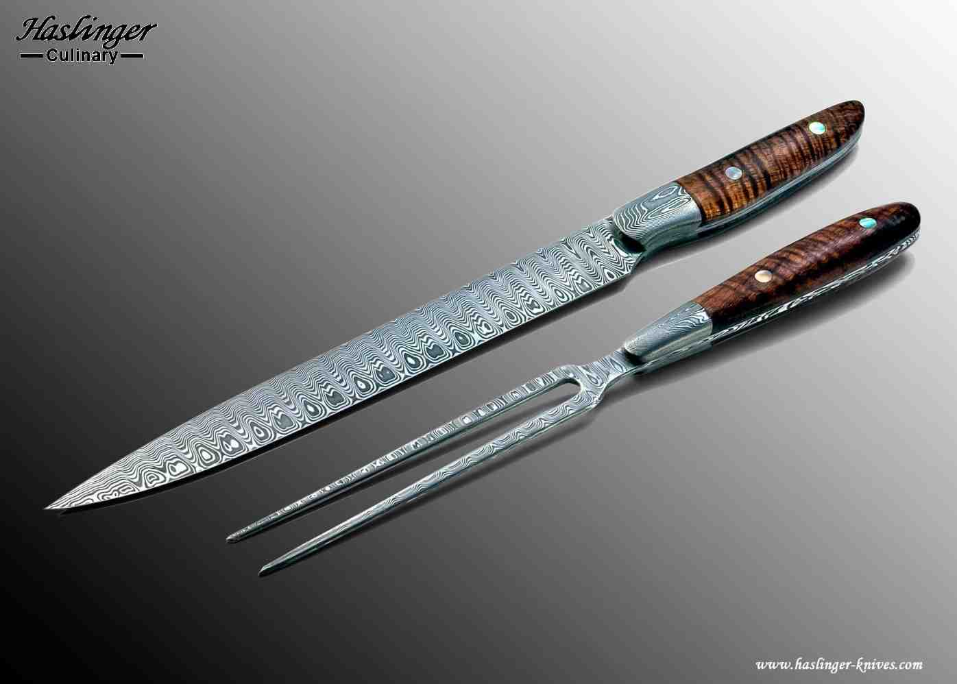 Damascus carving set with curly koa handle