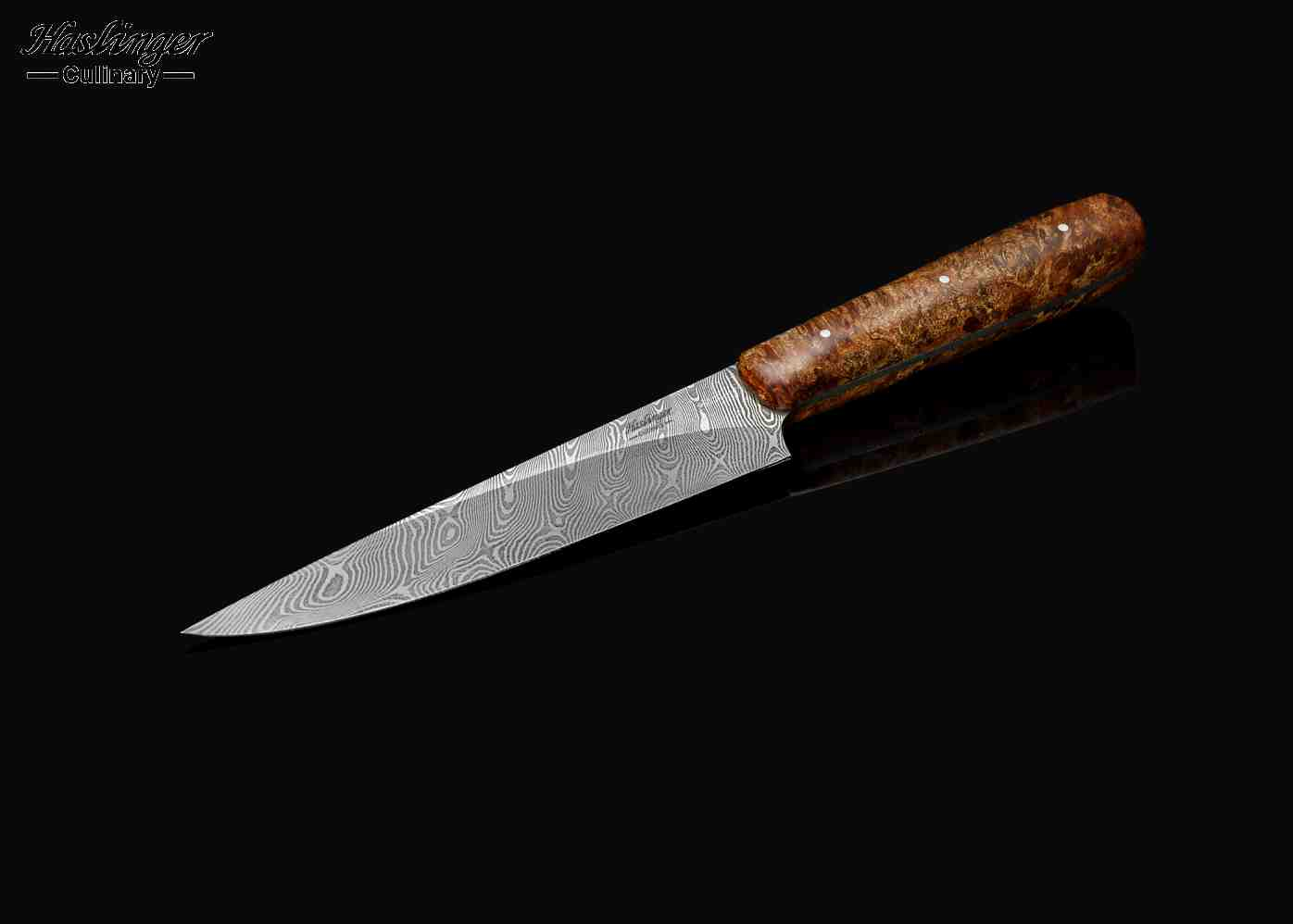 Damascus Petty 152mm Blade with Highly Figured Maple Handle