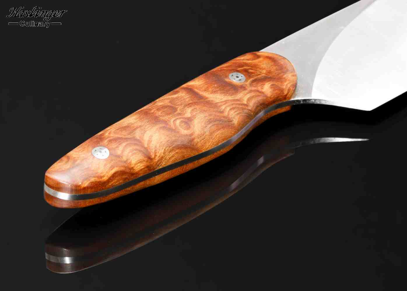 Evolution chef with quilted maple handle - close up