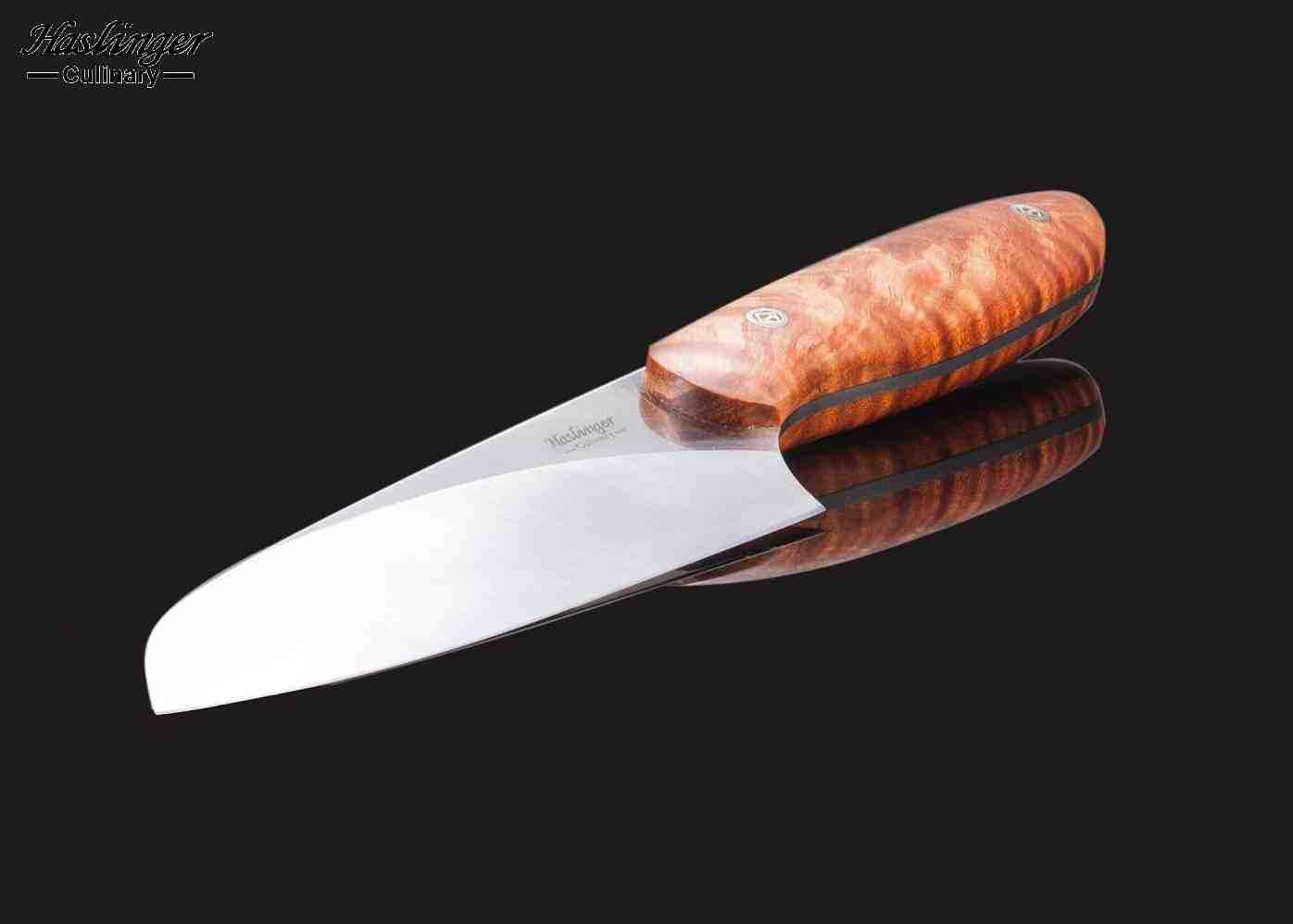 Evolution Chef Knife 142 mm Blade with Blond Maple Root Burl Handle