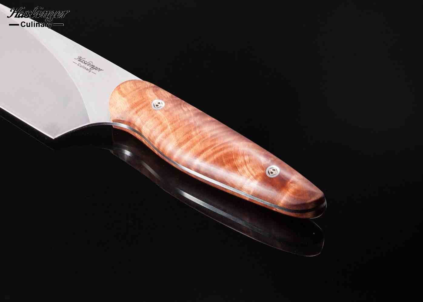 Evolution Chef Knife 190mm Blade with Fiddleback Maple Handle view