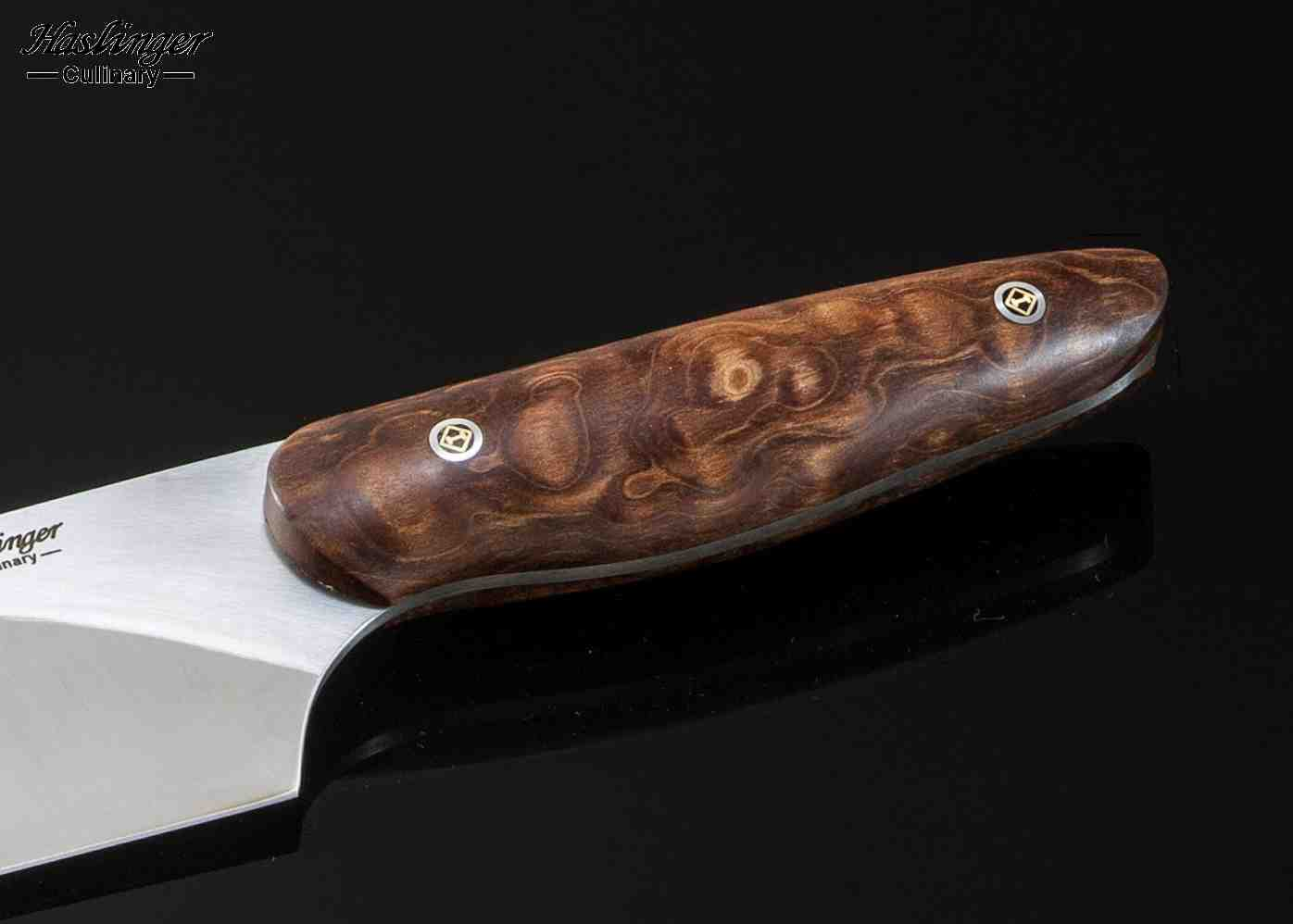 "Evolution Chef Knife with Quilted Maple Handle 8"" close up view"