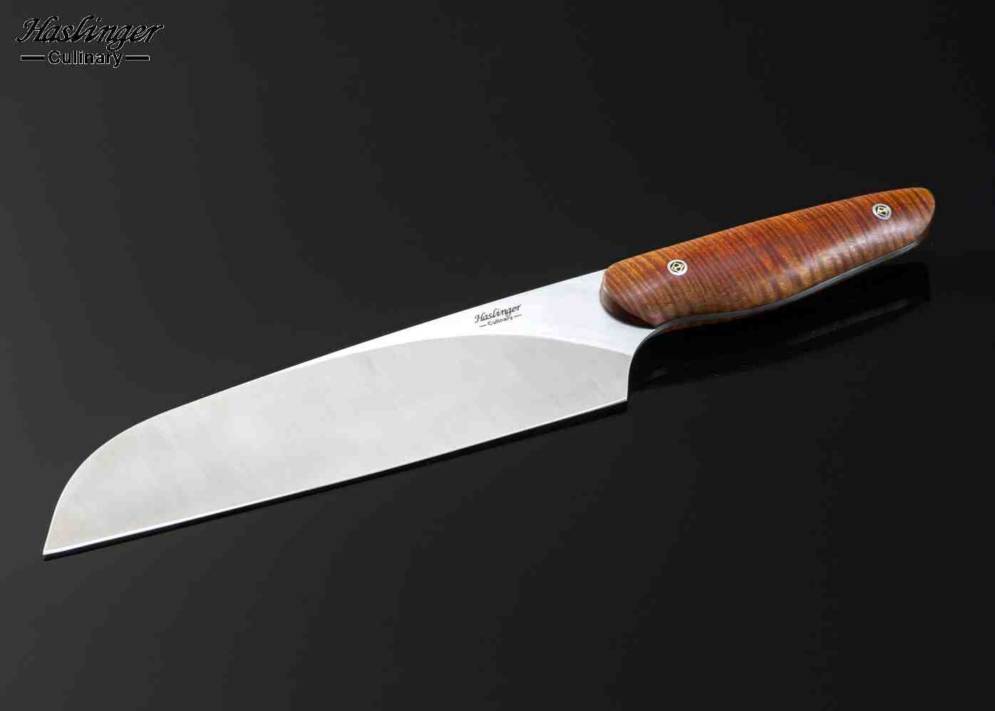 evolution chef knife with tiger striped maple handle 200mm haslinger culinary knives. Black Bedroom Furniture Sets. Home Design Ideas