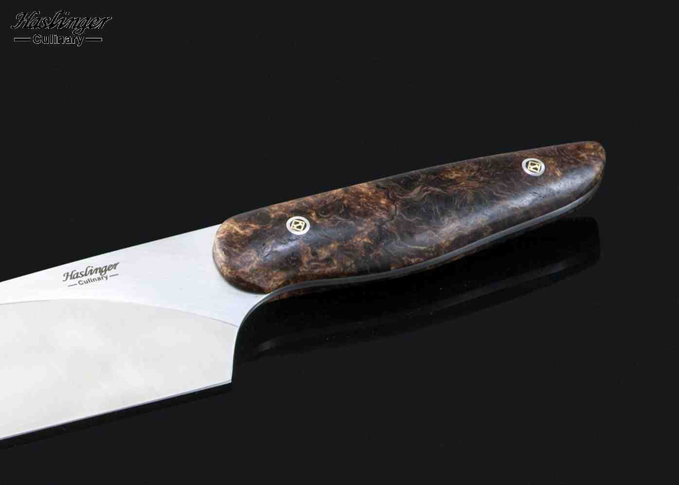 Evolution Chef Knife with Spalted Maple Handle close up