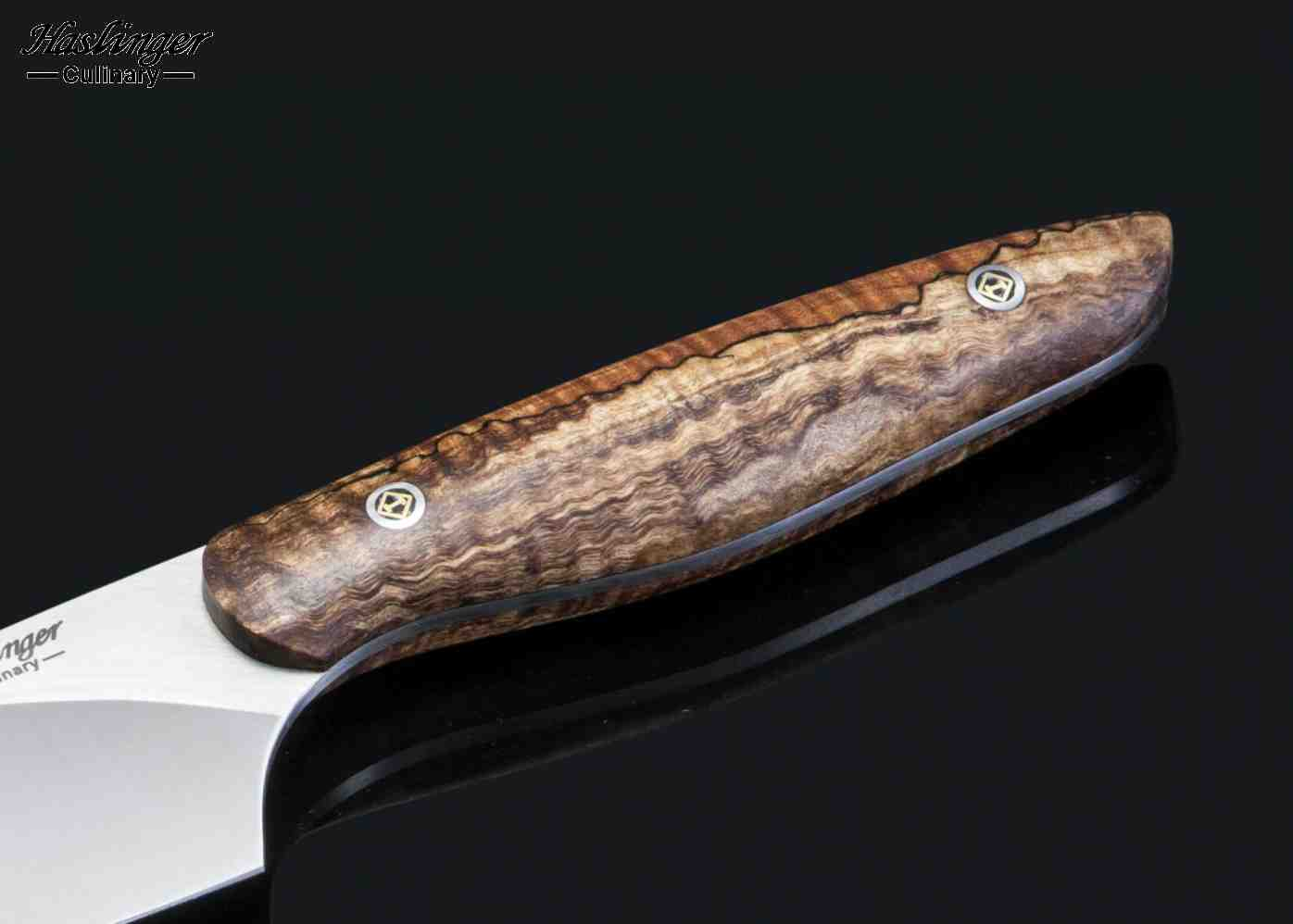 "New Generation 6"" Chef Spalted Maple Handle close up"